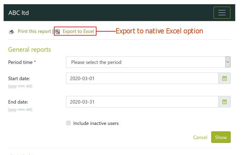 Export report as Excel